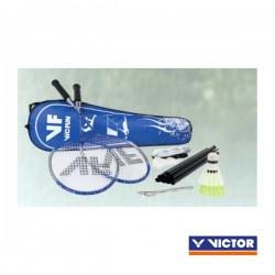 VICTOR badmintonset HOBBY A2 | 2 rackets, 2 nylonshuttles, net, haringen, scheerlijnen en tas
